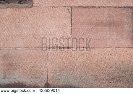 Full Frame Image Of Local Pink Cheshire Stone With Space For Copy