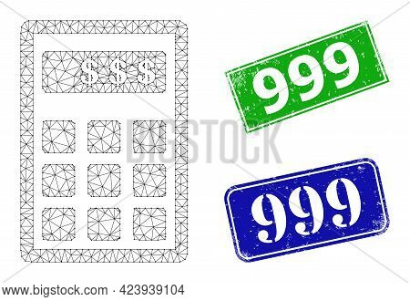 Polygonal Dollar Calculator Image, And 999 Blue And Green Rectangle Dirty Seal Prints. Polygonal Wir