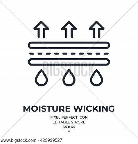 Moisture Wicking Editable Stroke Outline Icon Isolated On White Background Flat Vector Illustration.