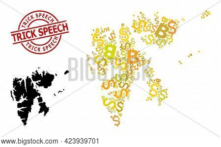 Rubber Trick Speech Stamp, And Money Mosaic Map Of Svalbard Islands. Red Round Stamp Seal Contains T