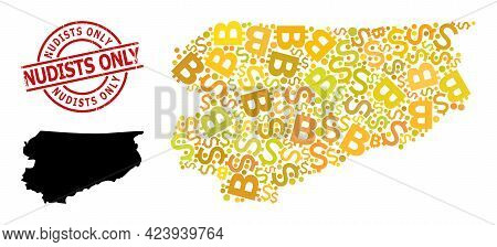 Distress Nudists Only Badge, And Finance Collage Map Of Warmia-masuria Province. Red Round Stamp Sea