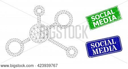 Mesh Distribution Model, And Social Media Blue And Green Rectangle Textured Stamp Seals. Mesh Wirefr