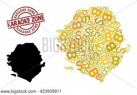 Rubber Karaoke Zone Stamp Seal, And Finance Collage Map Of Sierra Leone. Red Round Seal Contains Kar
