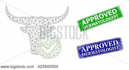 Polygonal Approved Beef Image, And Approved Dermatologist Blue And Green Rectangular Corroded Seals.