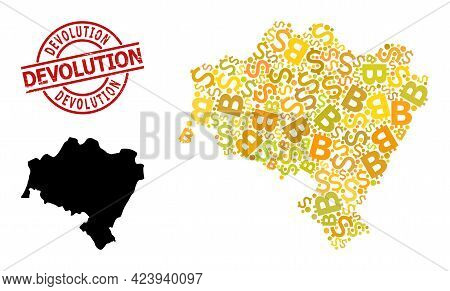 Scratched Devolution Stamp Seal, And Financial Collage Map Of Lower Silesia Province. Red Round Stam
