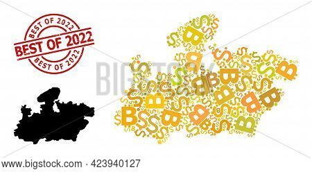 Textured Best Of 2022 Stamp, And Bank Mosaic Map Of Madhya Pradesh State. Red Round Stamp Seal Conta
