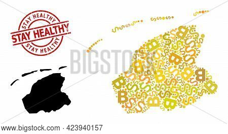 Grunge Stay Healthy Seal, And Currency Mosaic Map Of Friesland Province. Red Round Seal Has Stay Hea