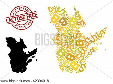 Distress Lactose Free Stamp Seal, And Financial Collage Map Of Quebec Province. Red Round Stamp Has