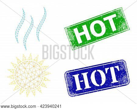Triangular Sun Warm Image, And Hot Blue And Green Rectangular Rubber Watermarks. Polygonal Wireframe