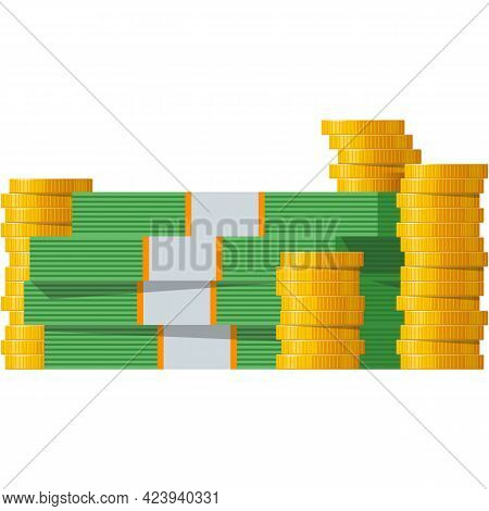 Money Stack Vector Gold Coin And Cash Pile Icon On White