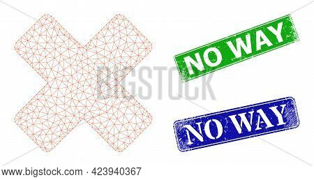 Polygonal Reject Image, And No Way Blue And Green Rectangular Grunge Stamps. Mesh Wireframe Image Ba