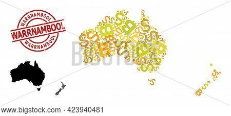 Textured Warrnambool Badge, And Currency Mosaic Map Of Australia And New Zealand. Red Round Badge Ha