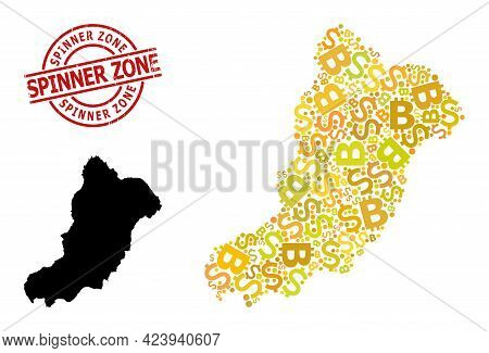 Distress Spinner Zone Badge, And Money Collage Map Of La Graciosa Island. Red Round Badge Includes S