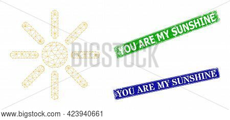 Network Sunshine Image, And You Are My Sunshine Blue And Green Rectangular Scratched Stamps. Mesh Wi