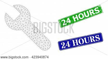 Triangular Wrench Image, And 24 Hours Blue And Green Rectangle Scratched Stamp Seals. Mesh Carcass I