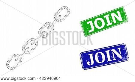 Polygonal Chain Image, And Join Blue And Green Rectangular Grunge Stamps. Polygonal Carcass Symbol I