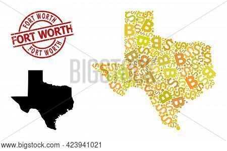 Distress Fort Worth Badge, And Currency Collage Map Of Texas State. Red Round Stamp Seal Includes Fo