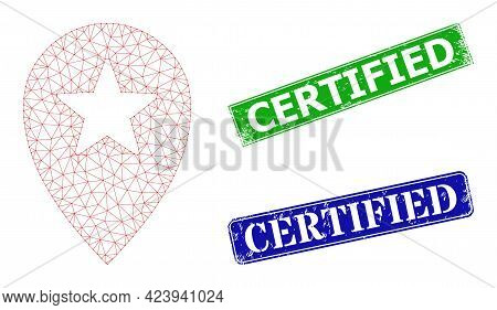 Polygonal Star Place Marker Image, And Certified Blue And Green Rectangle Textured Badges. Polygonal