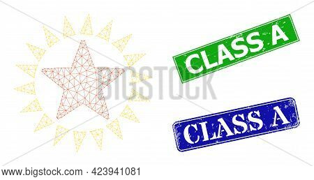 Mesh Star Shine Image, And Class A Blue And Green Rectangular Grunge Stamps. Mesh Carcass Image Is D