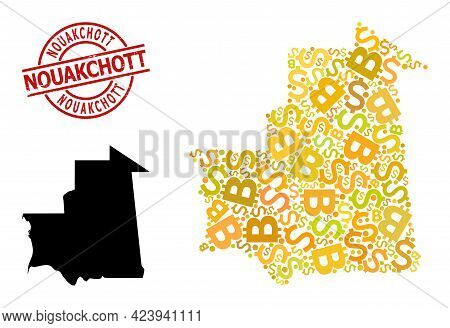 Textured Nouakchott Seal, And Banking Collage Map Of Mauritania. Red Round Stamp Seal Has Nouakchott