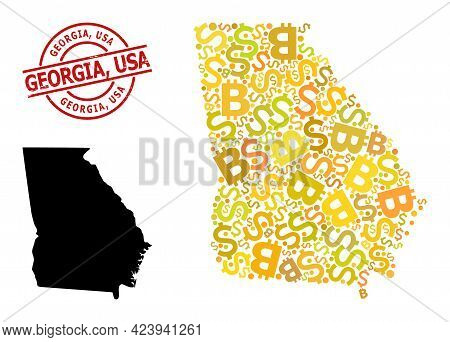 Rubber Georgia, Usa Stamp Seal, And Finance Mosaic Map Of Georgia State. Red Round Stamp Includes Ge