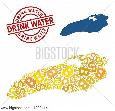 Rubber Drink Water Stamp Seal, And Finance Collage Map Of Ontario Lake. Red Round Seal Includes Drin