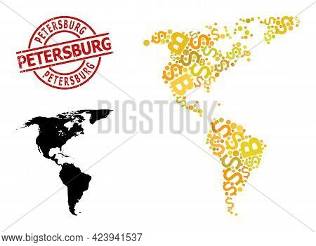 Grunge Petersburg Stamp Seal, And Financial Collage Map Of South And North America. Red Round Stamp