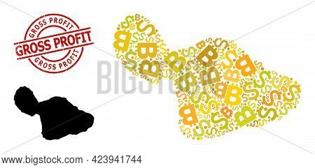 Grunge Gross Profit Stamp Seal, And Financial Mosaic Map Of Maui Island. Red Round Stamp Seal Includ