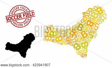 Textured Soccer Field Stamp Seal, And Currency Mosaic Map Of El Hierro Island. Red Round Stamp Seal