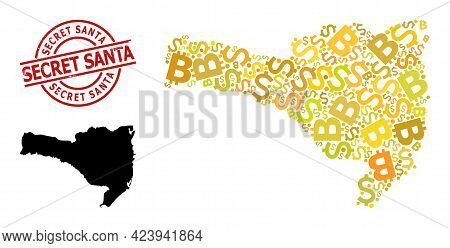 Textured Secret Santa Stamp, And Currency Collage Map Of Santa Catarina State. Red Round Stamp Seal