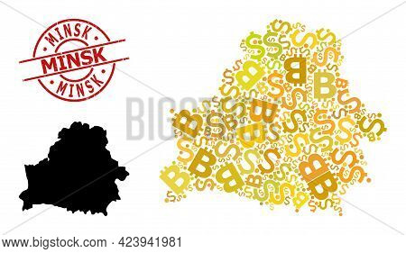Distress Minsk Stamp Seal, And Bank Collage Map Of Belarus. Red Round Stamp Seal Contains Minsk Titl
