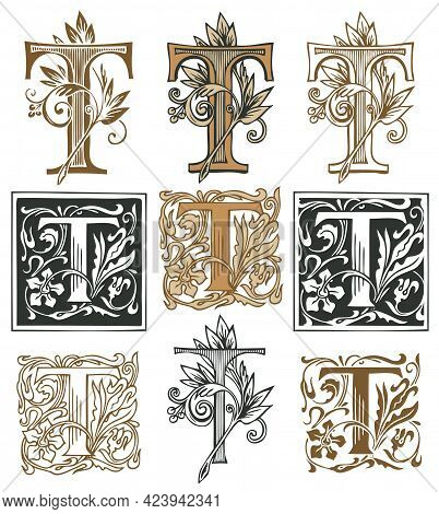 Ornate Initial Letter T With A Vintage Baroque Ornament. Vector Illustration Of Capital Letters T Wi