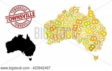 Textured Townsville Stamp Seal, And Finance Collage Map Of Australia. Red Round Stamp Seal Has Towns