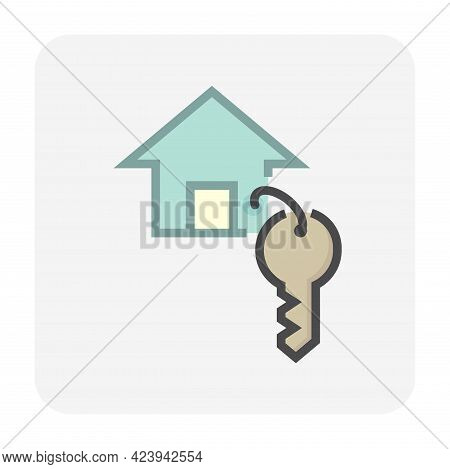 House Key Vector Icon. That Keyring Or Keychain Consist Of Home Or House Sign, Ring, And Key. For Re