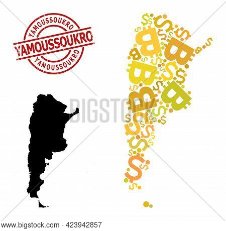 Scratched Yamoussoukro Stamp Seal, And Money Collage Map Of Argentina. Red Round Stamp Seal Contains