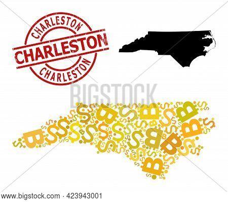Textured Charleston Stamp, And Money Collage Map Of North Carolina State. Red Round Stamp Seal Inclu