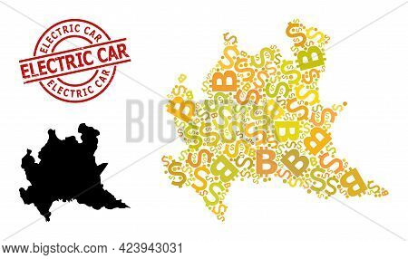 Rubber Electric Car Seal, And Bank Collage Map Of Lombardy Region. Red Round Seal Contains Electric