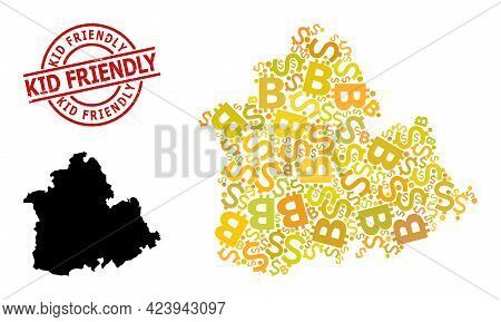 Grunge Kid Friendly Seal, And Banking Mosaic Map Of Sevilla Province. Red Round Stamp Seal Includes