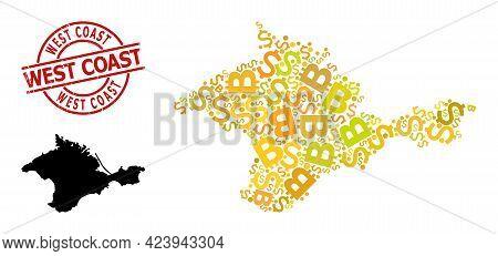 Grunge West Coast Badge, And Money Collage Map Of Crimea. Red Round Badge Has West Coast Title Insid