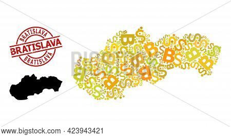 Textured Bratislava Stamp, And Currency Collage Map Of Slovakia. Red Round Stamp Seal Contains Brati