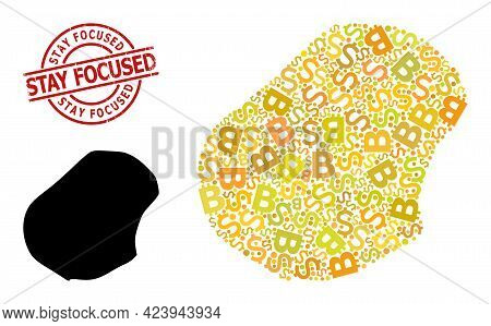 Textured Stay Focused Seal, And Money Mosaic Map Of Nauru. Red Round Stamp Seal Includes Stay Focuse