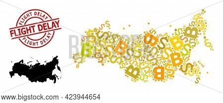 Distress Flight Delay Stamp Seal, And Finance Mosaic Map Of Russia. Red Round Stamp Seal Includes Fl
