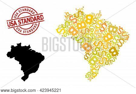 Grunge Usa Standard Stamp Seal, And Bank Collage Map Of Brazil. Red Round Stamp Seal Contains Usa St