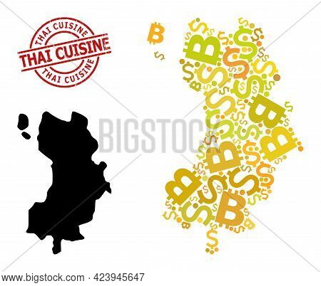 Grunge Thai Cuisine Stamp Seal, And Money Collage Map Of Ko Tao. Red Round Stamp Seal Has Thai Cuisi