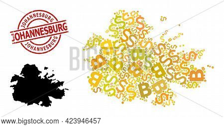 Distress Johannesburg Seal, And Financial Mosaic Map Of Antigua Island. Red Round Stamp Seal Include