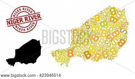 Grunge Niger River Stamp Seal, And Banking Mosaic Map Of Niger. Red Round Seal Has Niger River Title