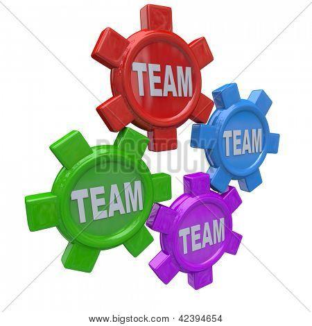 Quatro engrenagens girando juntos em uníssono, que representa o trabalho em conjunto ou colaboração em direção a uma commo