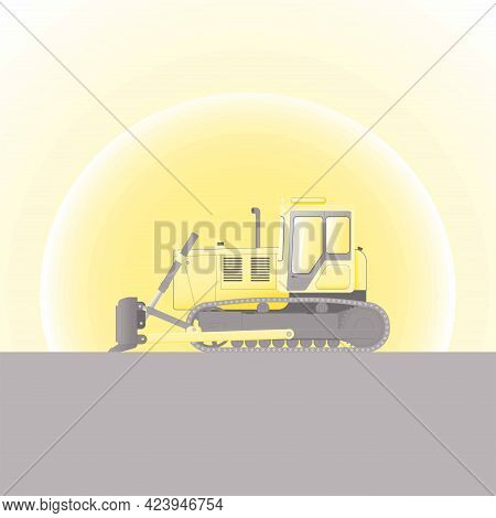 Goose Bulldozer Against The Background Of The Rising Sun. Construction Machinery. Flat Vector Illust