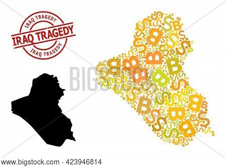 Rubber Iraq Tragedy Stamp Seal, And Finance Collage Map Of Iraq. Red Round Stamp Includes Iraq Trage