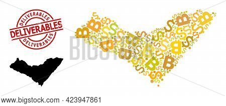 Scratched Deliverables Seal, And Currency Mosaic Map Of Alagoas State. Red Round Seal Has Deliverabl